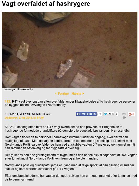 R4Y Vagt overfaldet af 2 personer under rundering i Løvvangen i Nørresundby